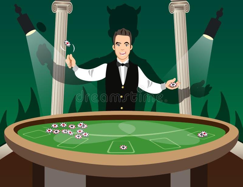 Crupié detrás de la tabla de la ruleta libre illustration