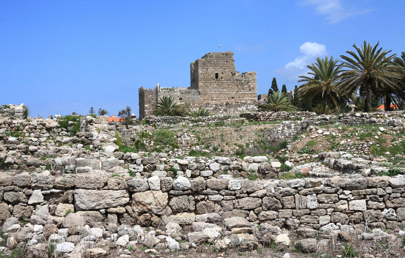 Crusader Castle, Byblos (Lebanon). The ancient crusader castle in the historical town of Byblos, Lebanon stock photos