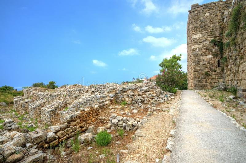 Crusader castle, Byblos, Lebanon. The crusaders' castle in the historic city of Byblos in Lebanon. A view of the exterior of the castle and the northern royalty free stock image