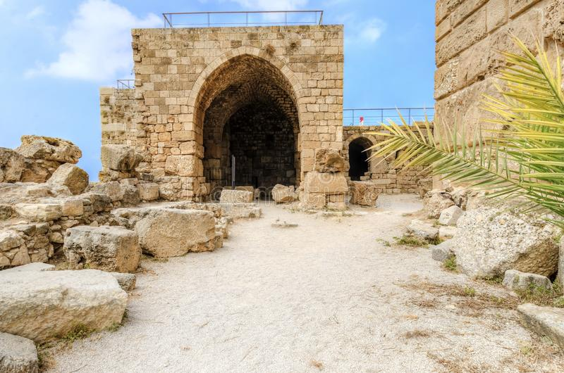 Crusader castle, Byblos, Lebanon. The exterior of the crusaders' castle in the historic city of Byblos in Lebanon. A view of the southern part of the castle, the stock photography