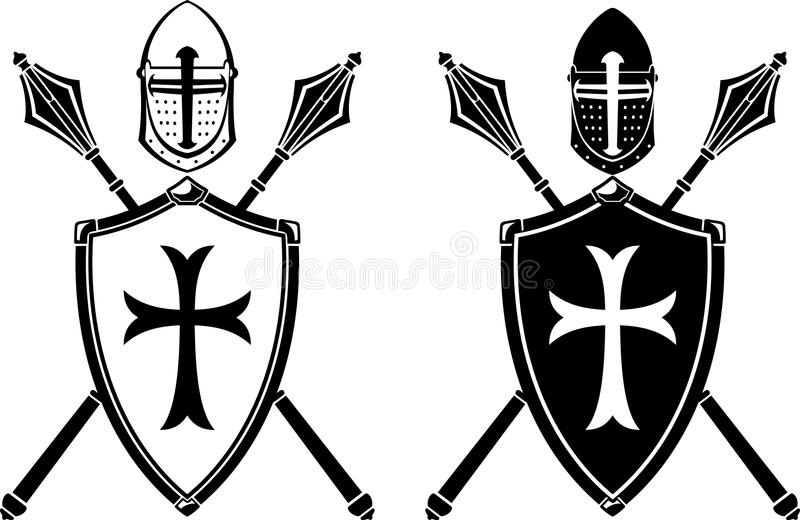 Crusader Crest Armor and Mace Weapon. Variations of isolated Helm, Shield, Mace on white background royalty free illustration