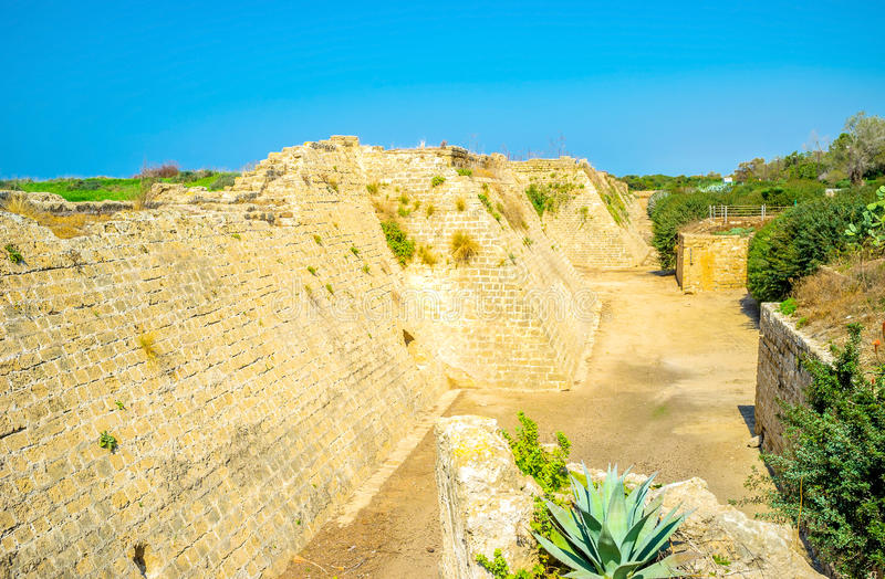 The Crusader Fortress in Caesarea royalty free stock photography
