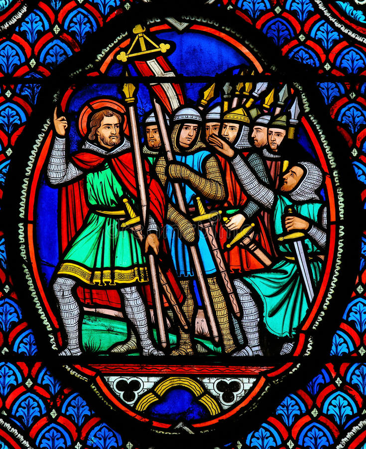 Crusaders - Stained Glass in Cathedral of Tours, France. Stained glass window depicting Crusaders in the Cathedral of Tours, France royalty free stock images