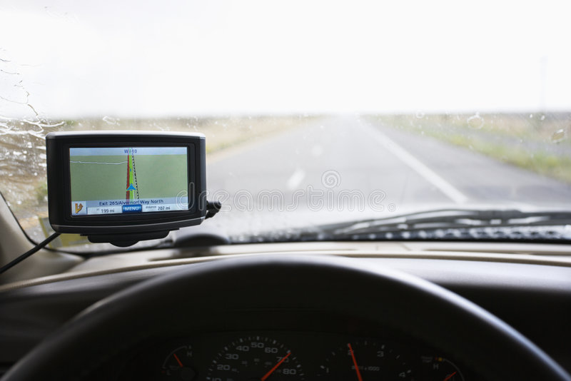 Cruscotto del veicolo con il GPS. fotografie stock libere da diritti