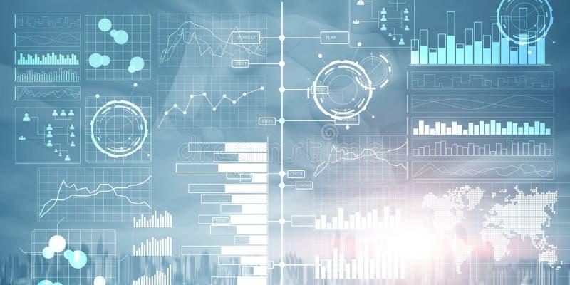 Cruscotto di business intelligence con gli indicatori di efficacia chiave su un'interfaccia del computer dello schermo virtuale royalty illustrazione gratis