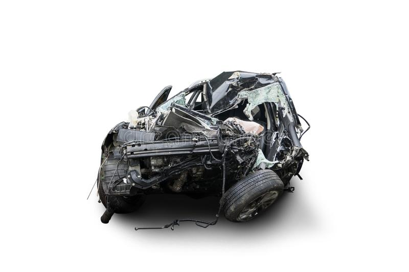 Crush black car after collision in the studio. Close up of crush black car after collision in the studio, isolated on white background royalty free stock images