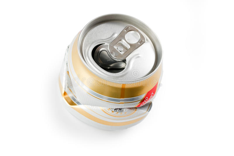 Crushed beer can. Photo shot of crushed beer can royalty free stock image