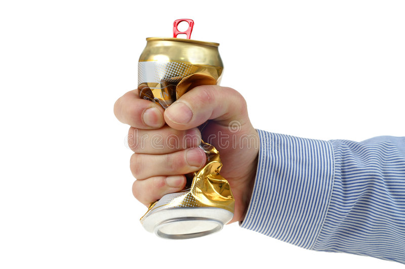 Crushed beer-can. Man crushed beer-can isolated on white background stock photo