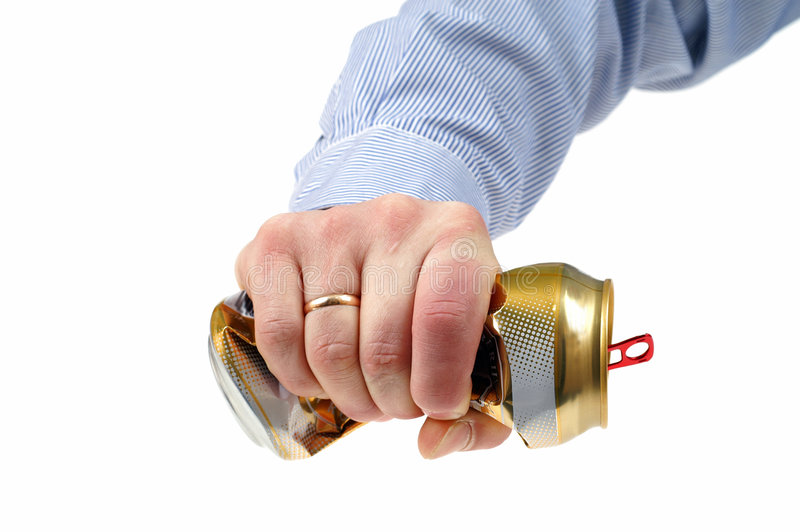 Crushed beer-can. Man crushed beer-can isolated on white background royalty free stock image