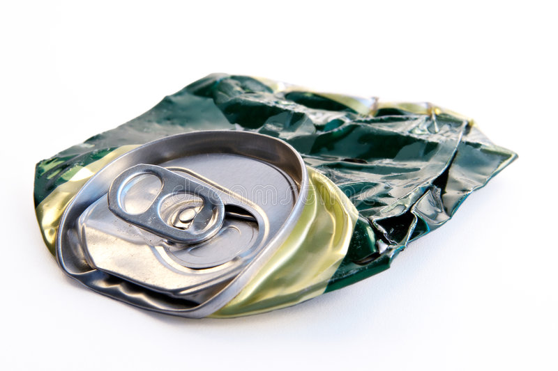Crushed beer can. Life was severely passed after it royalty free stock images