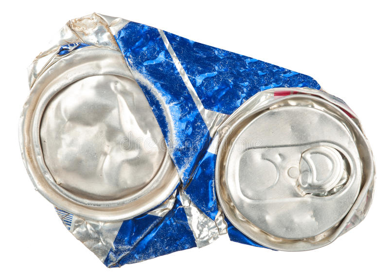 Crushed beer can. On white background royalty free stock photography