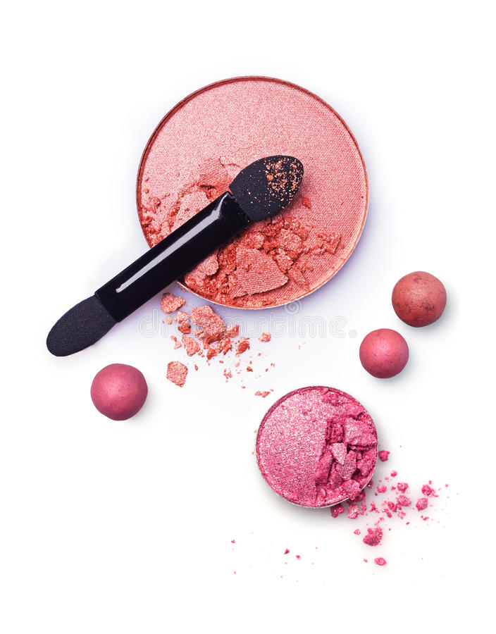Crushed blush and applicator. On white background royalty free stock photos