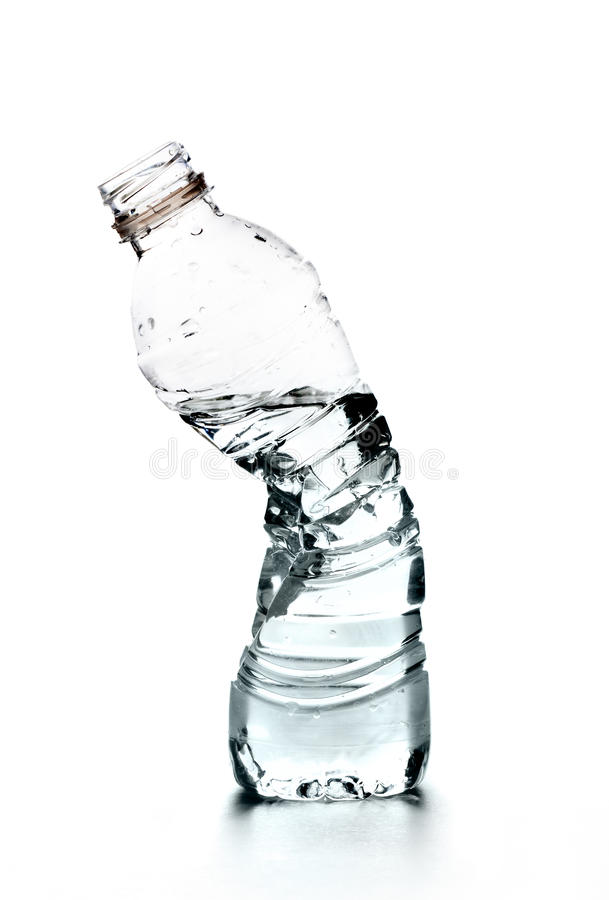 Crushed bottle of water royalty free stock photos