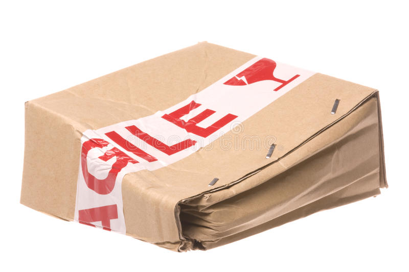 Crushed Box with Fragile Tape stock image