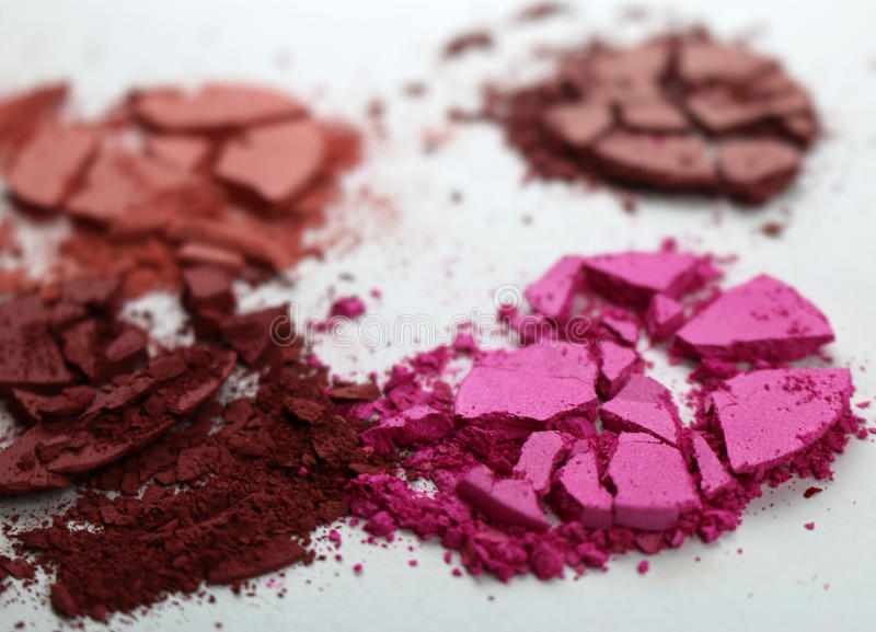 Crushed broken Shuttered Makeup Powder Blush. Crushes broken and shuttered makeup powder blushes. Use it for you beauty and makeup business, or website, use it royalty free stock photography