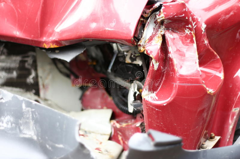 Crushed car. Wrecked car detail, full damage royalty free stock photos