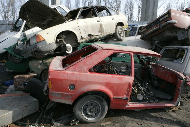 Crushed cars in junkyard stock photography