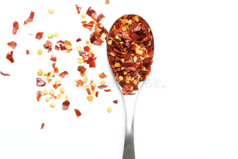 Crushed chillies stock image