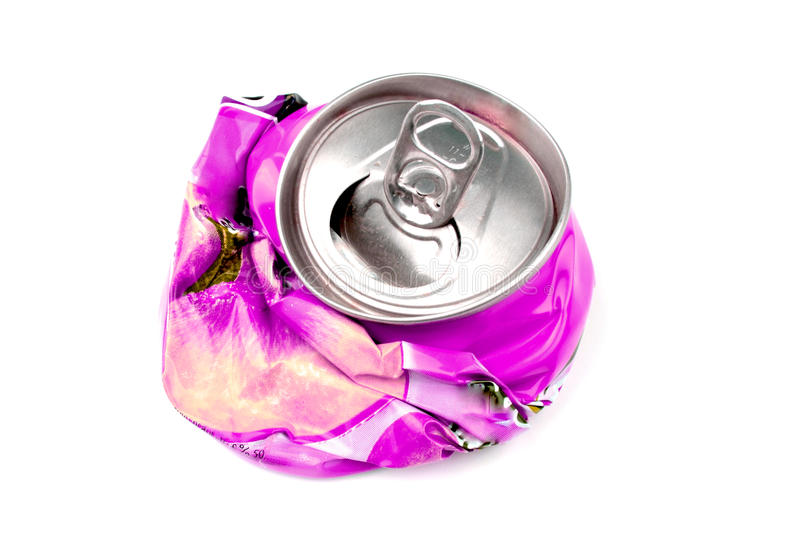 Crushed drink can royalty free stock photography