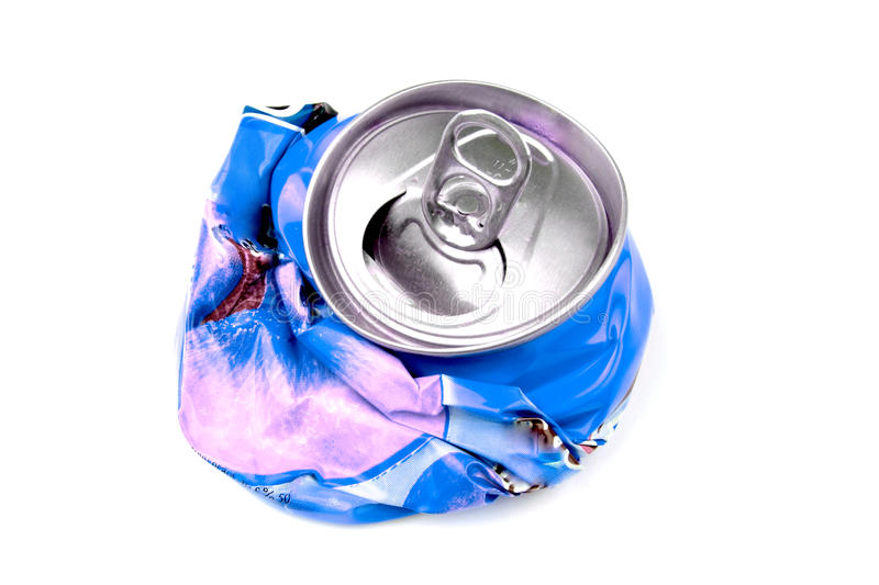 Crushed drink can royalty free stock image