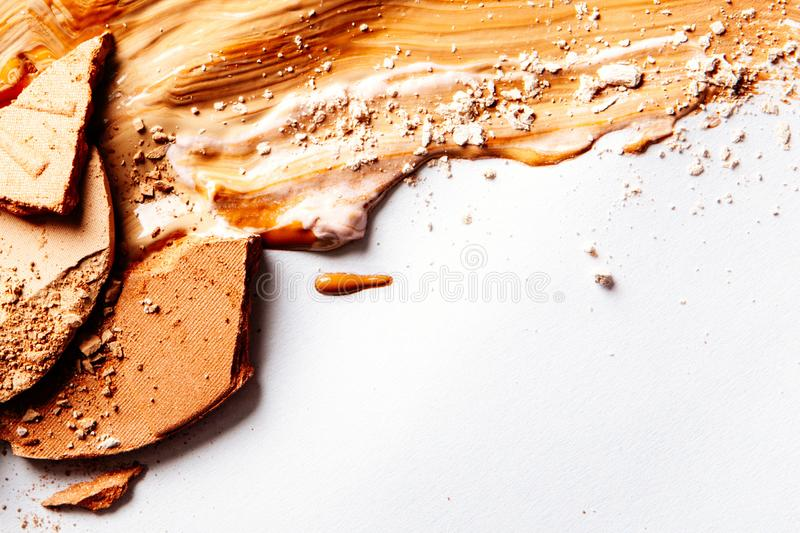 Crushed make-up products - beauty and cosmetics styled concept. Elegant visuals stock image