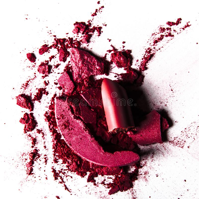 Crushed make-up products - beauty and cosmetics styled concept. Elegant visuals stock photos