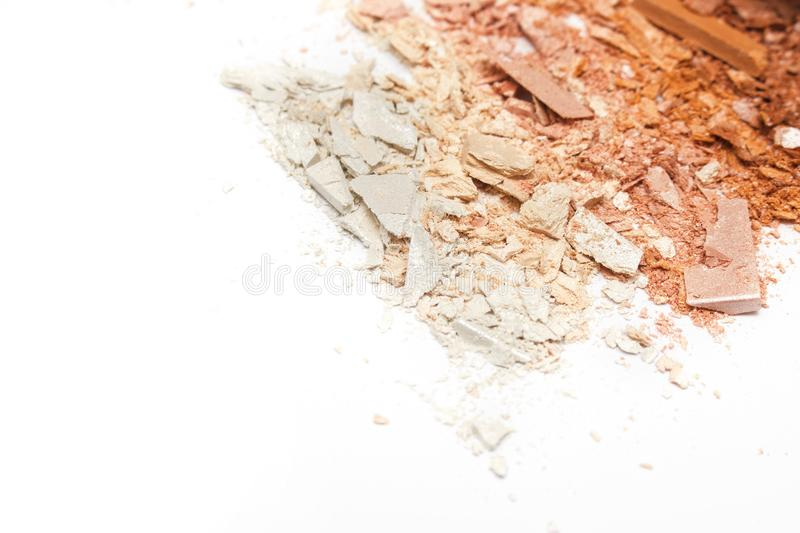 Crushed powder bronzer blush on white background. The image can be used as a beautiful background for business cards, websites, and so on royalty free stock photos