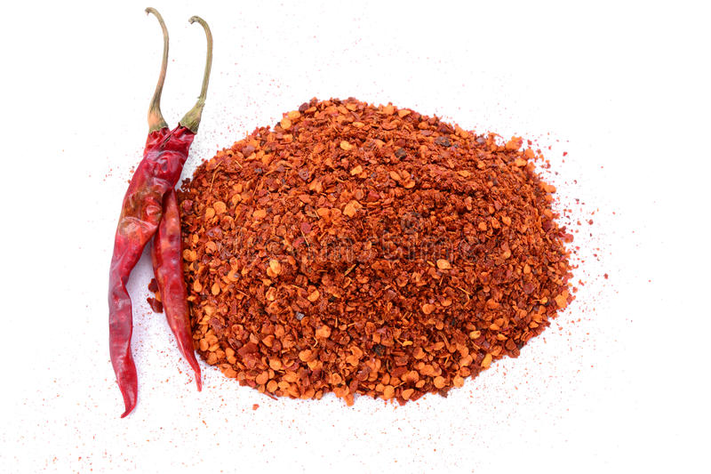 Crushed Red Chili Pepper flakes royalty free stock photo