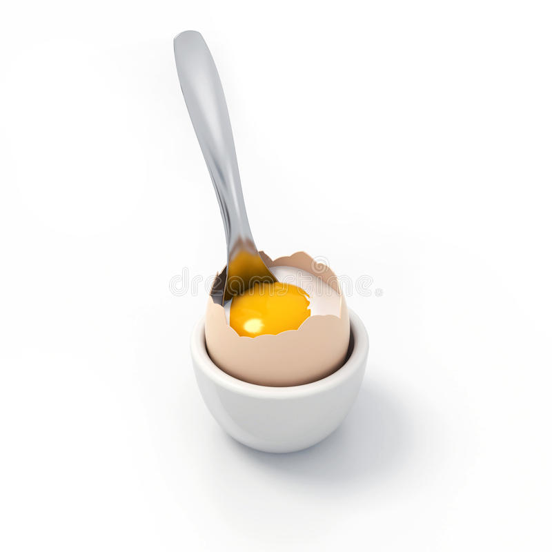 Crushed soft-boiled egg witch spoon inside royalty free stock photos