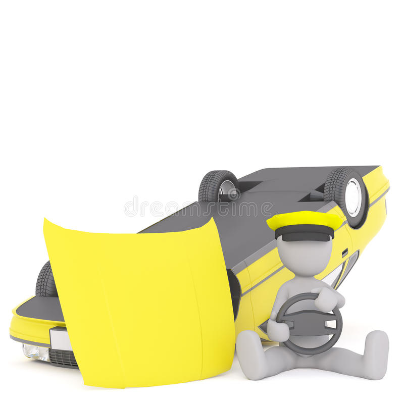 Crushed taxi cab concept. Figure of faceless 3D man taxi driver sitting on the ground with steering wheel in hands next to overthrown broken yellow taxi cab vector illustration
