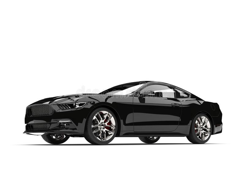 Crushing black modern sports muscle car - beauty shot. Isolated on white background vector illustration