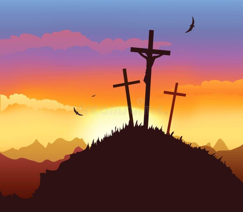 Crusifixion. Dramatic scene of Christ Crucifixion royalty free illustration