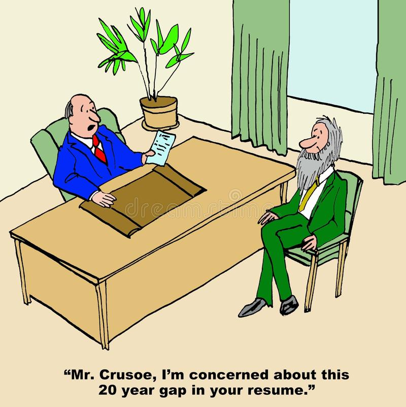 Crusoe Gap in Resume. Business cartoon showing interview and interviewer says, Mr. Crusoe, I'm concerned about this 20 year gap in your resume stock illustration