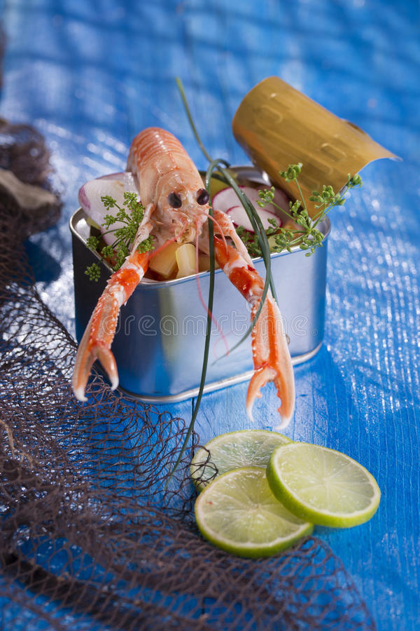 Crustacean canned. Presentation of a crustacean with mixed vegetables in box royalty free stock photography