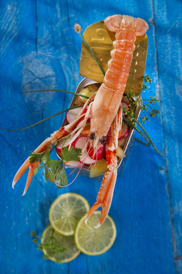 Crustacean canned. Presentation of a crustacean with mixed vegetables in box royalty free stock image