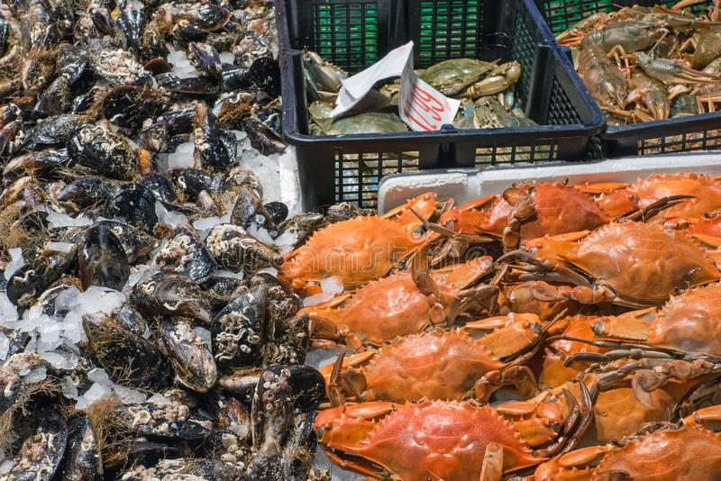 Crustaceans and oysters for sale. At a market in Madrid, Spain stock photo