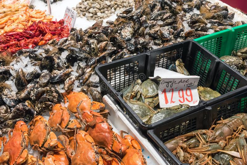 Crustaceans for sale at a market. In Madrid, Spain stock photo