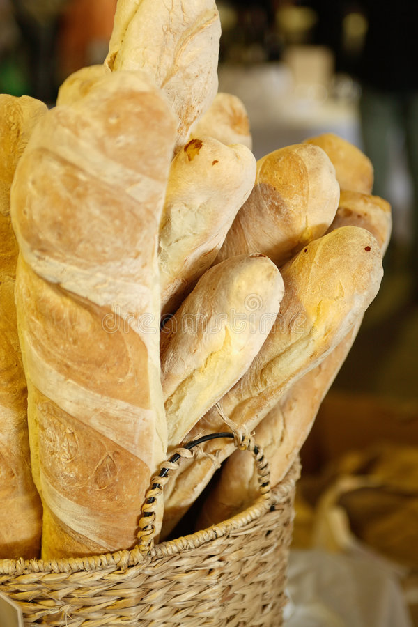 Crusty Bread. Loaves of fresh crusty bread for sale at market stall royalty free stock image