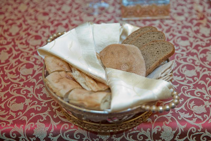 Crusty bread bruschetta in copper bowl royalty free stock image