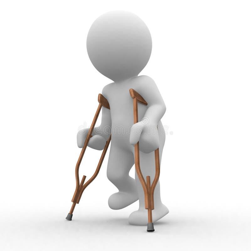 Crutch 3d royalty free illustration