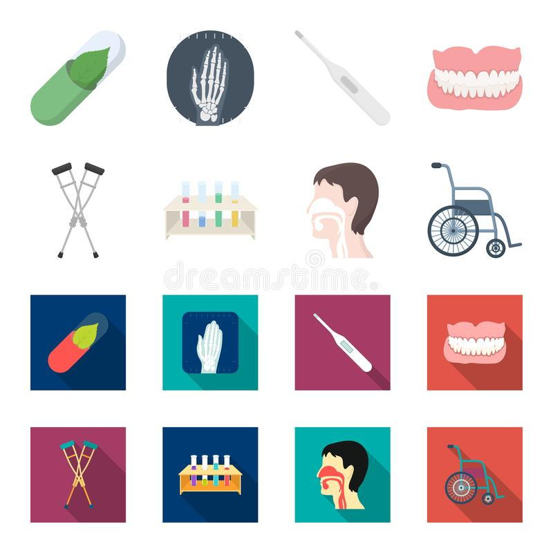 Crutch, tripod with test tubes, wheelchair, human respiratory system. Medicine set collection icons in cartoon,flat royalty free illustration