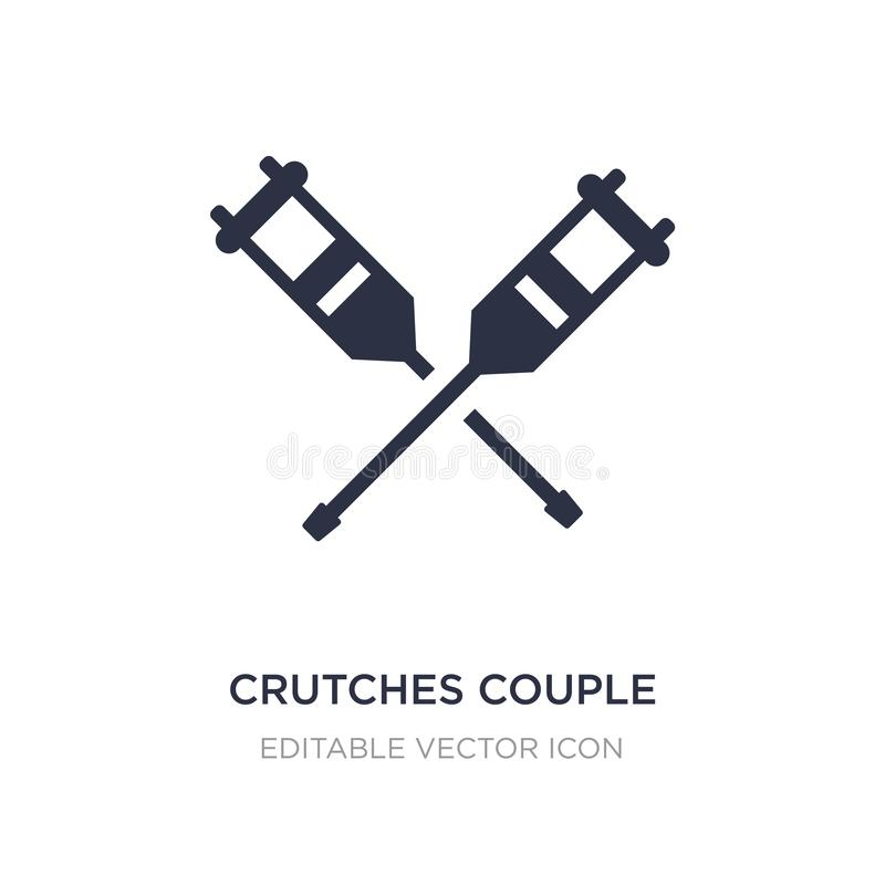 crutches couple icon on white background. Simple element illustration from Medical concept stock illustration