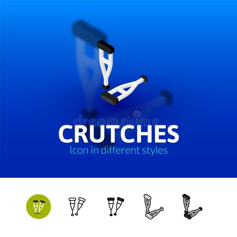 Crutches l'icona nello stile differente illustrazione di stock