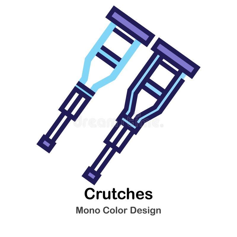 Crutches mono значок цвета иллюстрация штока