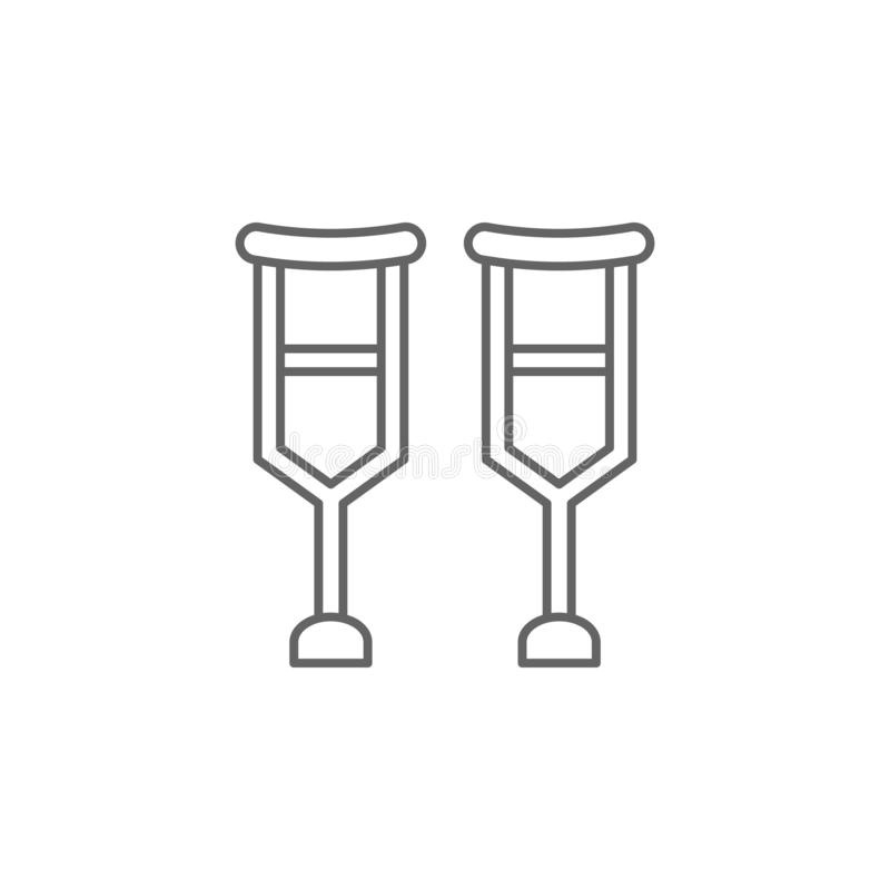 Crutches, physiotherapy icon. Element of physiotherapy icon. Thin line icon for website design and development, app development. royalty free illustration