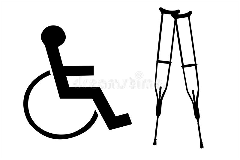 Crutches And Wheelchair Silhouettes Stock Illustration
