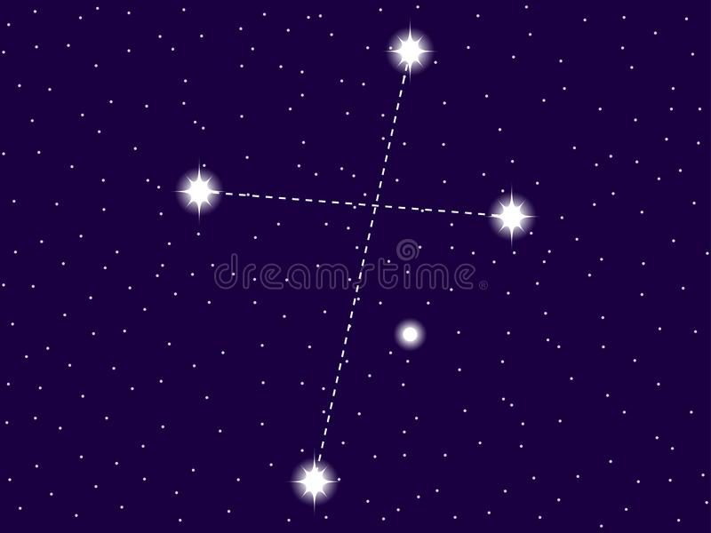 Crux constellation. Starry night sky. Zodiac sign. Cluster of stars and galaxies. Deep space. Vector. Illustration royalty free illustration