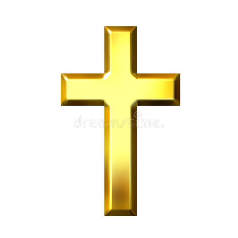 cruz 3D dourada ilustração do vetor