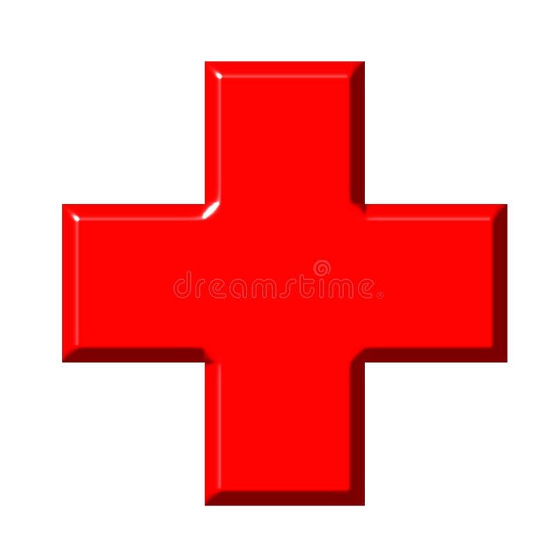 cruz 3D vermelha ilustração do vetor