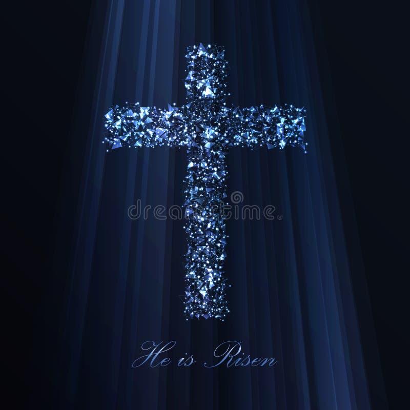 Cruz abstrata da Páscoa feita dos polígono ilustração stock